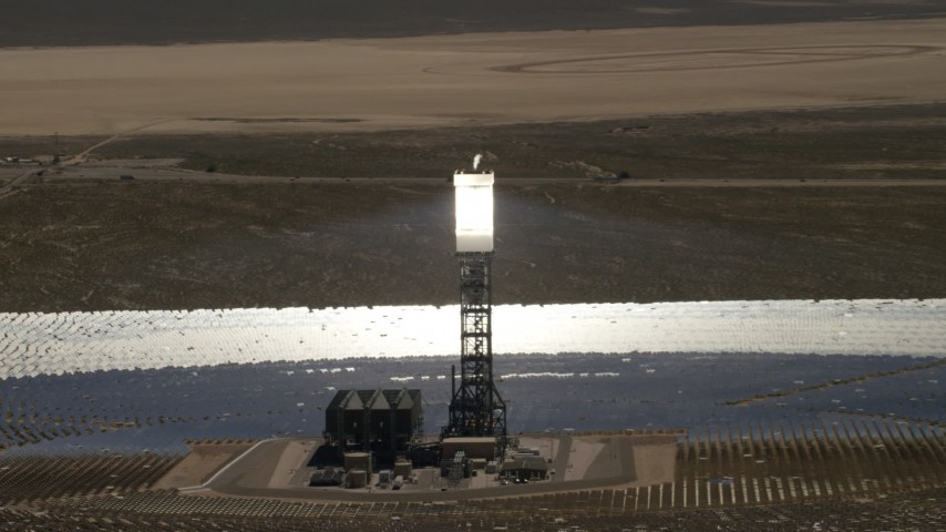 4K stock footage aerial video orbit one of arrays at the Ivanpah Solar Electric Generating System in California Aerial Stock Footage | FG0001_000187