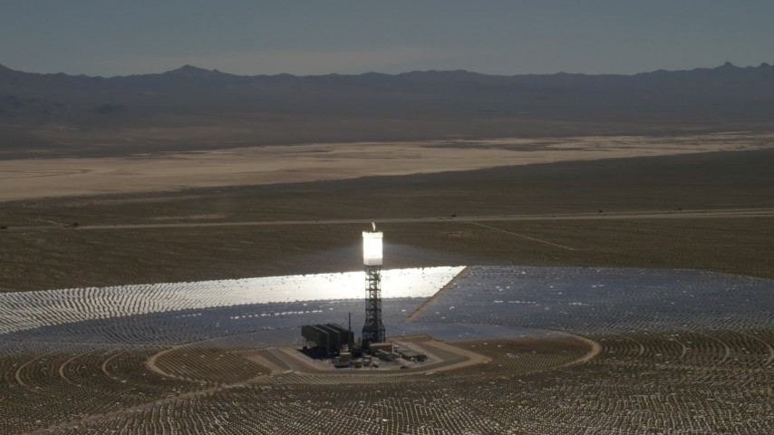Orbiting one of the arrays at the Ivanpah Solar Electric Generating System in California Aerial Stock Footage | FG0001_000188