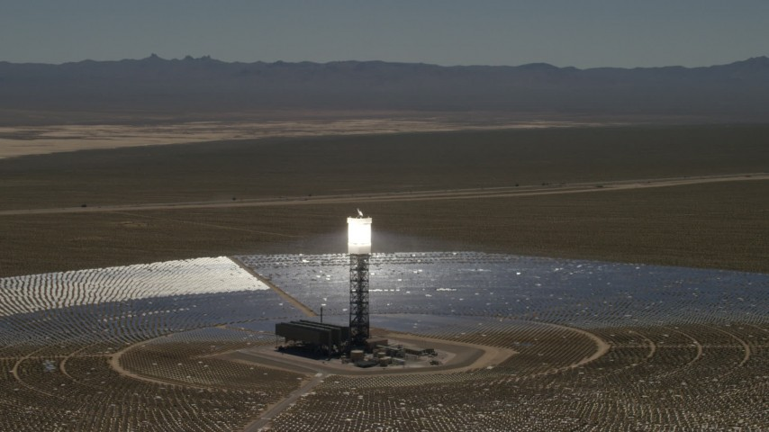 4K stock footage aerial video of circling one of the arrays at the Ivanpah Solar Electric Generating System in California Aerial Stock Footage | FG0001_000189