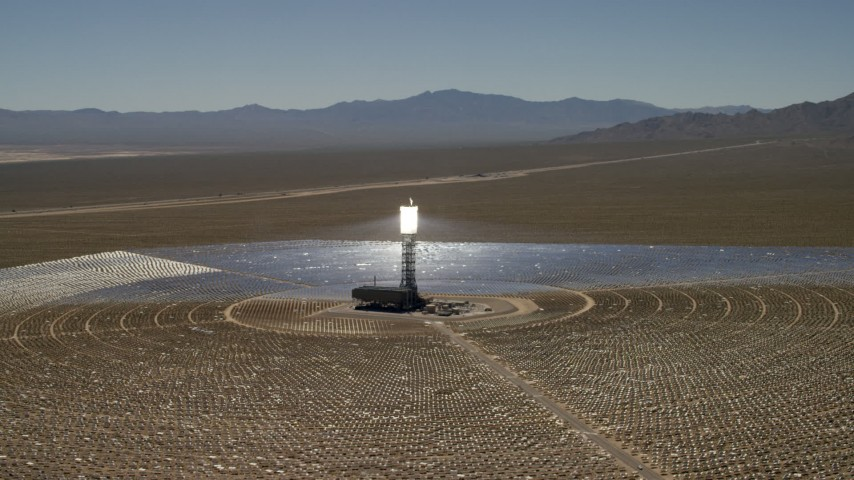 4K stock footage aerial video of an orbit around one of the arrays at the Ivanpah Solar Electric Generating System in California Aerial Stock Footage | FG0001_000190
