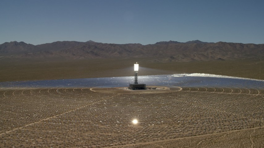 Circling around an array at the Ivanpah Solar Electric Generating System in California Aerial Stock Footage FG0001_000192