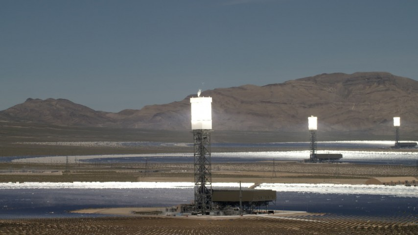 4K stock footage aerial video of a trio of arrays at the Ivanpah Solar Electric Generating System in California Aerial Stock Footage | FG0001_000196