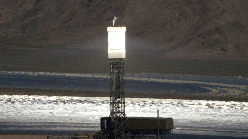 4K stock footage aerial video of power tower and boiler at the Ivanpah Solar Electric Generating System in California Aerial Stock Footage | FG0001_000199