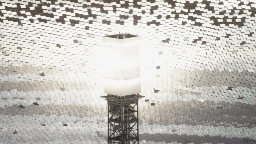 4K stock footage aerial video of glowing power tower boiler at the Ivanpah Solar Electric Generating System in California Aerial Stock Footage | FG0001_000205