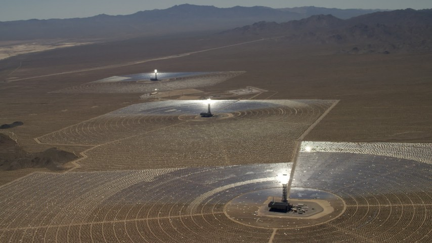 View of the three solar power structures at the Ivanpah Solar Electric Generating System in California Aerial Stock Footage | FG0001_000210