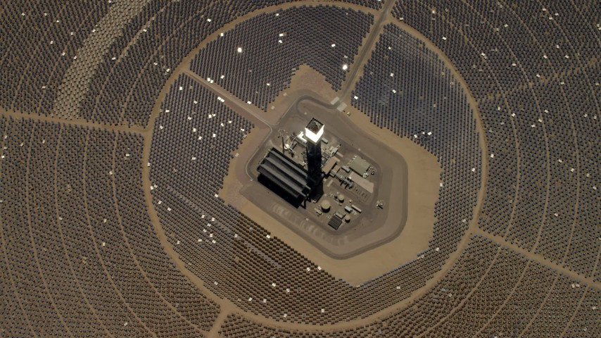 4K stock footage aerial video of a bird's eye of one of the solar power structures at the Ivanpah Solar Electric Generating System in California Aerial Stock Footage | FG0001_000215