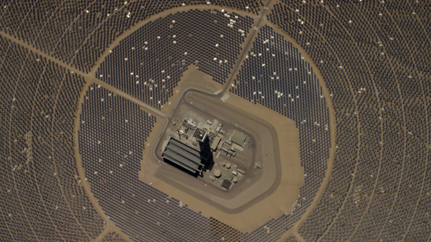 4K stock footage aerial video of a bird's eye view of one of the mirror arrays and power towers at the Ivanpah Solar Electric Generating System in California Aerial Stock Footage | FG0001_000218