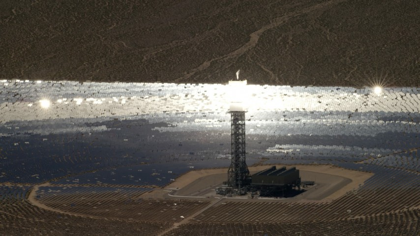 A mirror array and power tower at the Ivanpah Solar Electric Generating System in California Aerial Stock Footage | FG0001_000224