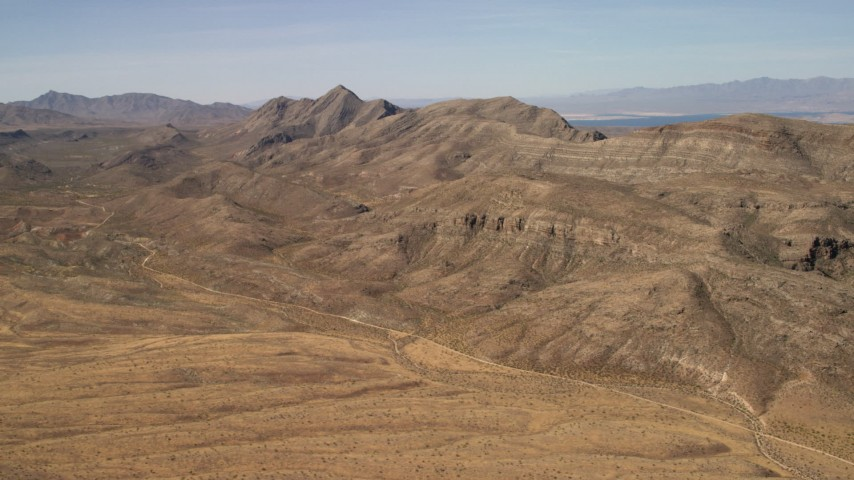 Steep mountain ridges in the Nevada Desert Aerial Stock Footage | FG0001_000259