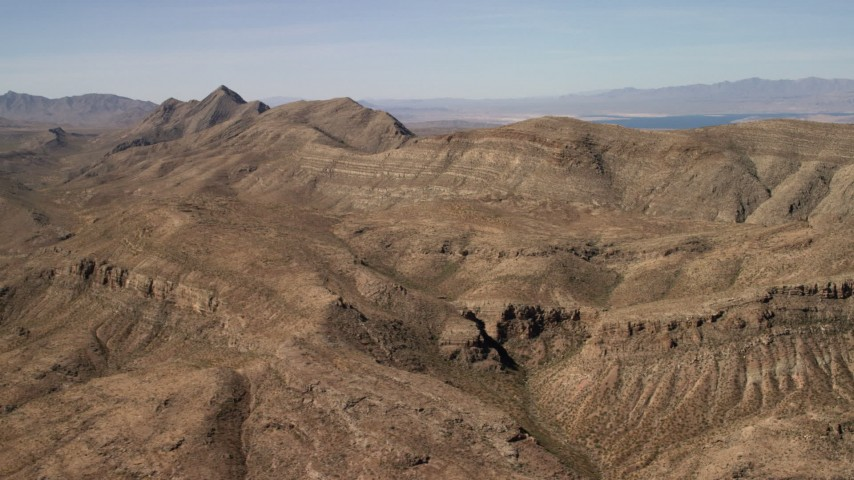 4K stock footage aerial video of steep-sloped mountain ridges in the Nevada Desert Aerial Stock Footage | FG0001_000260