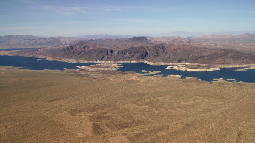 Approaching the Lower Narrows arm of Lake Mead in the Nevada Desert Aerial Stock Footage | FG0001_000269