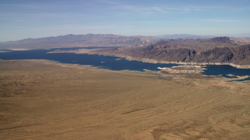 Pan and approach the Lower Narrows arm of Lake Mead in the Nevada Desert Aerial Stock Footage | FG0001_000270