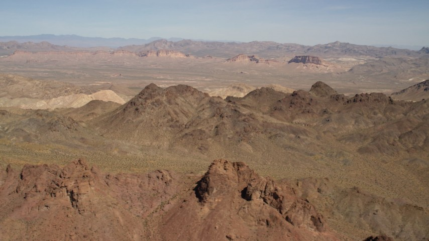 A view of rugged, barren mountains in the Nevada Desert Aerial Stock Footage | FG0001_000284