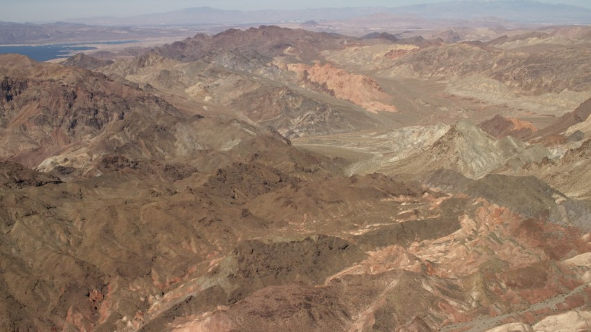 4K stock footage aerial video fly over barren mountains near Lake Mead in the Nevada Desert Aerial Stock Footage | FG0001_000286