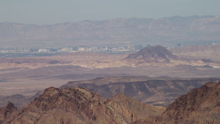 4K stock footage aerial video of a view across the desert at the casino hotels of Las Vegas, Nevada Aerial Stock Footage | FG0001_000290