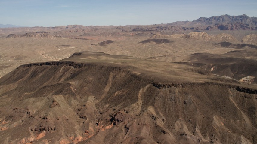 4K stock footage aerial video of a mesa in the barren landscape of the Nevada Desert Aerial Stock Footage | FG0001_000299
