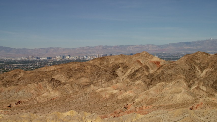 4K stock footage aerial video approach desert mountains with the city of Las Vegas, Nevada in the background Aerial Stock Footage | FG0001_000305