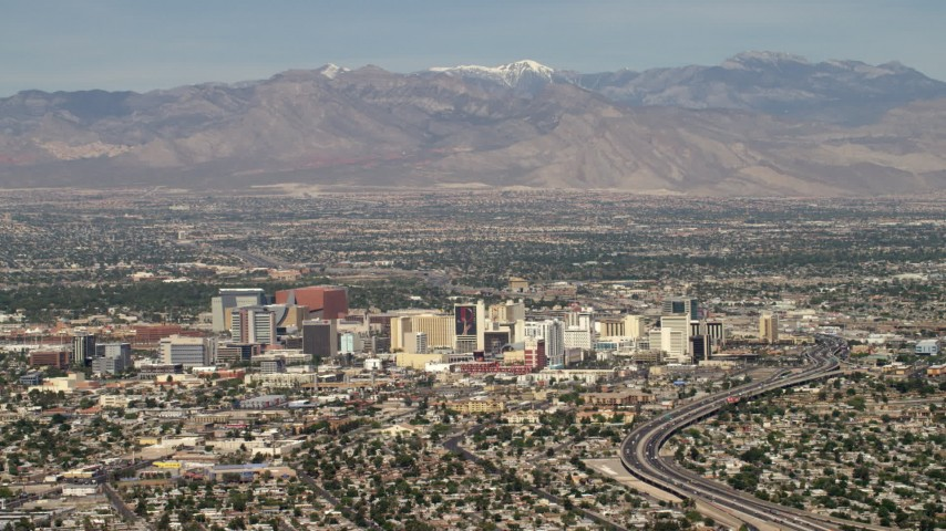 4K stock footage aerial video of Downtown Las Vegas hotels and casinos, Nevada Aerial Stock Footage | FG0001_000313