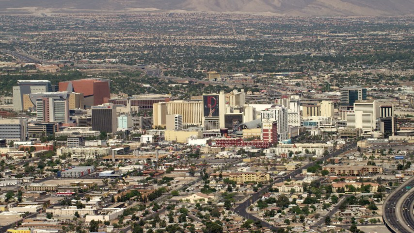 4K stock footage aerial video of a view of Downtown Las Vegas hotels and casinos, Nevada Aerial Stock Footage | FG0001_000314