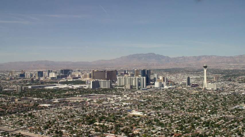 4K stock footage aerial video tilt to reveal hotels and casinos on the Las Vegas Strip, Nevada Aerial Stock Footage | FG0001_000315