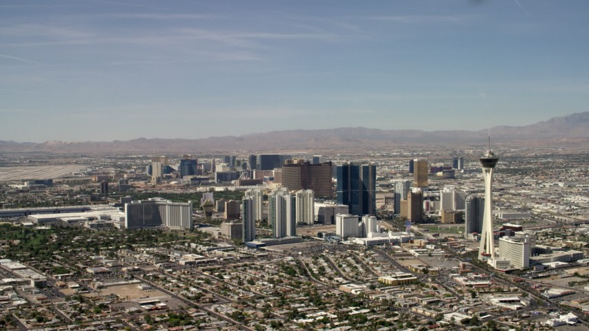 Stratosphere and hotels and casinos on the Las Vegas Strip in Nevada Aerial Stock Footage | FG0001_000317