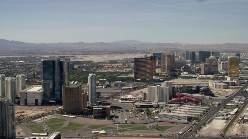 Flyby Fontainebleau, Circus Circus, and Encore casino hotels on the Las Vegas Strip in Nevada Aerial Stock Footage | FG0001_000320