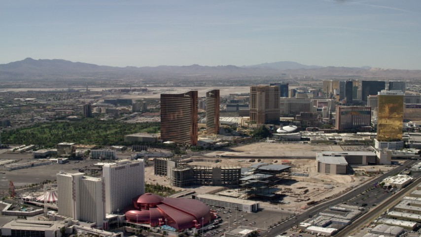 Encore, Wynn, Palazzo and Trump casino hotels on the Las Vegas Strip in Nevada Aerial Stock Footage | FG0001_000321