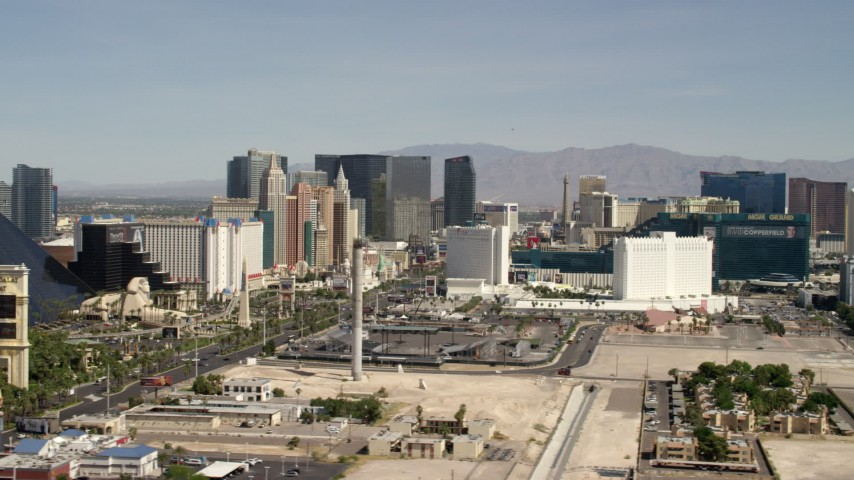 The resort casinos on Las Vegas Boulevard, the Las Vegas Strip, Nevada Aerial Stock Footage | FG0001_000331