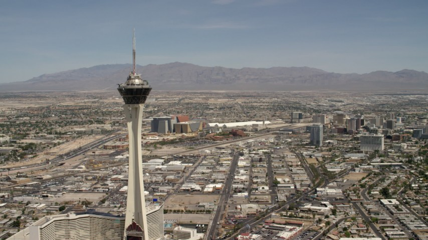 Approach the top of Stratosphere Las Vegas, Nevada Aerial Stock Footage | FG0001_000340