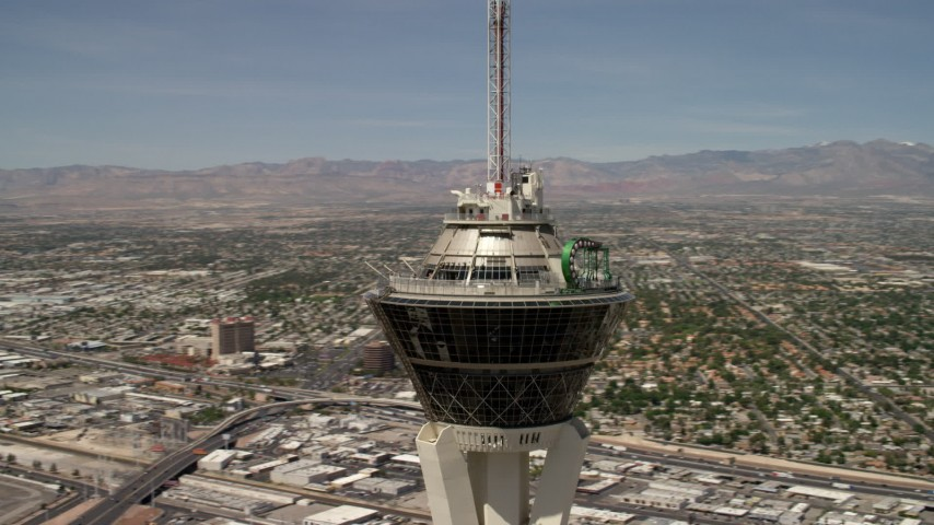 4K stock footage aerial video orbit the top of Stratosphere Las Vegas, Nevada Aerial Stock Footage | FG0001_000341