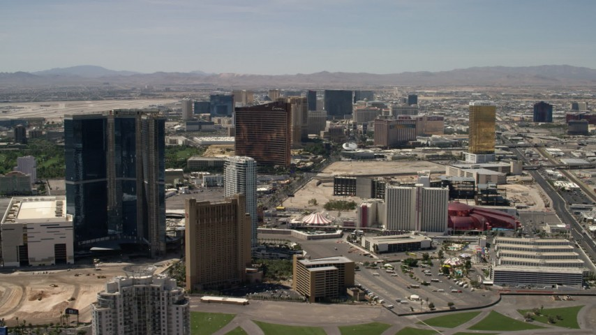4K stock footage aerial video of the Las Vegas Strip casino resorts seen from Circus Circus in Nevada Aerial Stock Footage | FG0001_000343