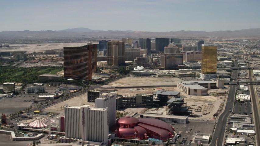 Las Vegas Strip casino resorts in Las Vegas, Nevada Aerial Stock Footage | FG0001_000344