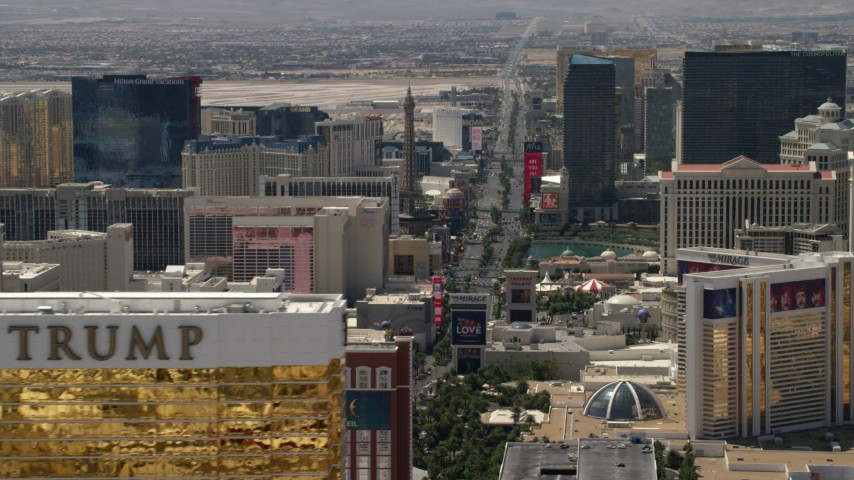 Las Vegas Boulevard and casino resorts seen from Trump Hotel on the Las Vegas Strip, Nevada Aerial Stock Footage | FG0001_000345