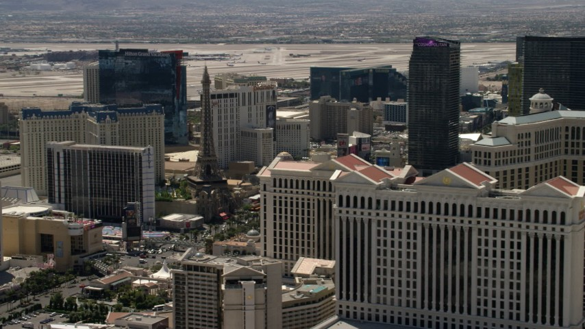 4K stock footage aerial video of Paris Las Vegas and Bally's on the Las Vegas Strip, Nevada, seen from Caesar's Palace Aerial Stock Footage | FG0001_000347