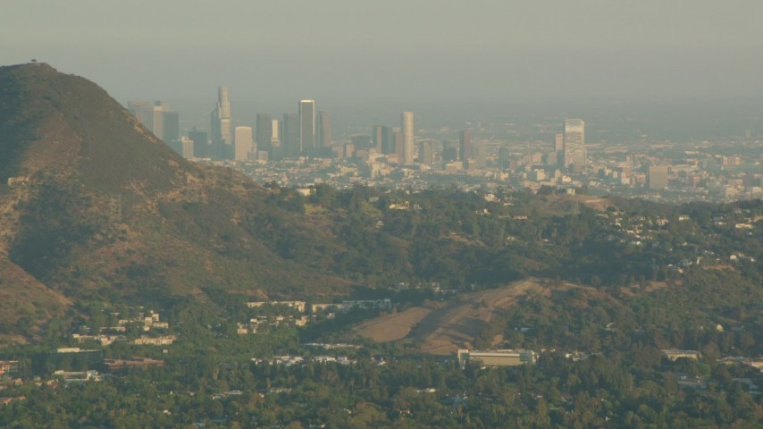 1080 stock footage aerial video Downtown Los Angeles skyline, seen from the Hollywood Hills in California at sunset Aerial Stock Footage | HDA06_02
