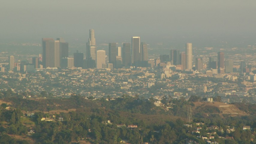 1080 stock footage aerial video Downtown Los Angeles skyline seen from the Hollywood Hills, California, sunset Aerial Stock Footage | HDA06_03