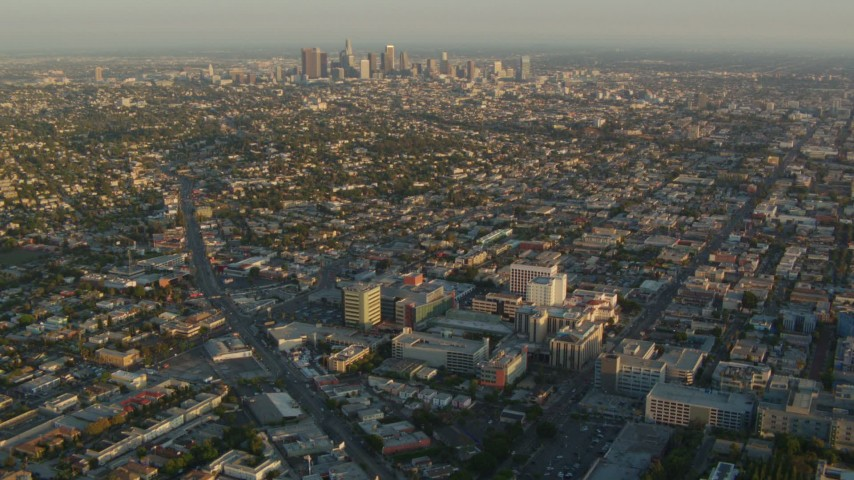1080 stock footage aerial video approach Children's Hospital Los Angeles and Downtown Los Angeles at sunset, California Aerial Stock Footage | HDA06_12