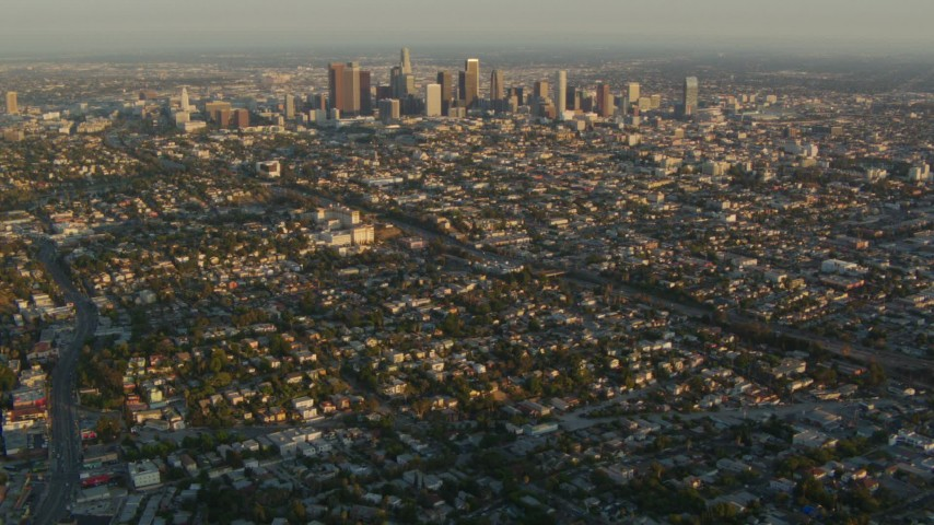 1080 stock footage aerial video Downtown Los Angeles skyscrapers seen from Echo Park neighborhoods at sunset, California Aerial Stock Footage | HDA06_14