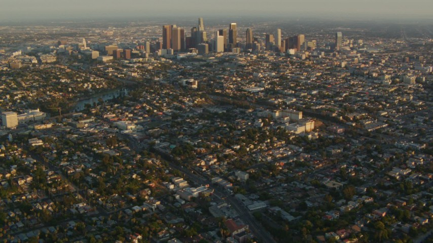 1080 stock footage aerial video Downtown Los Angeles skyscrapers at sunset seen from Echo Lake in Echo Park, California Aerial Stock Footage | HDA06_15