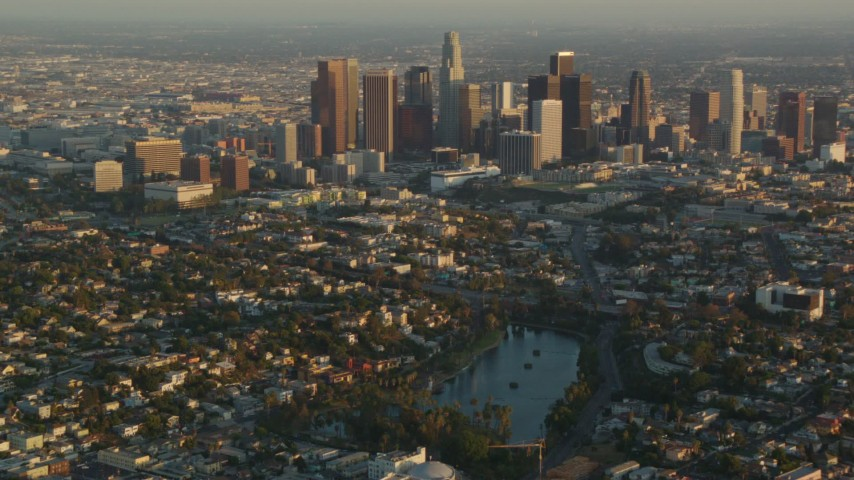 1080 stock footage aerial video Downtown Los Angeles seen from Echo Lake at sunset, Echo Park, California Aerial Stock Footage | HDA06_16