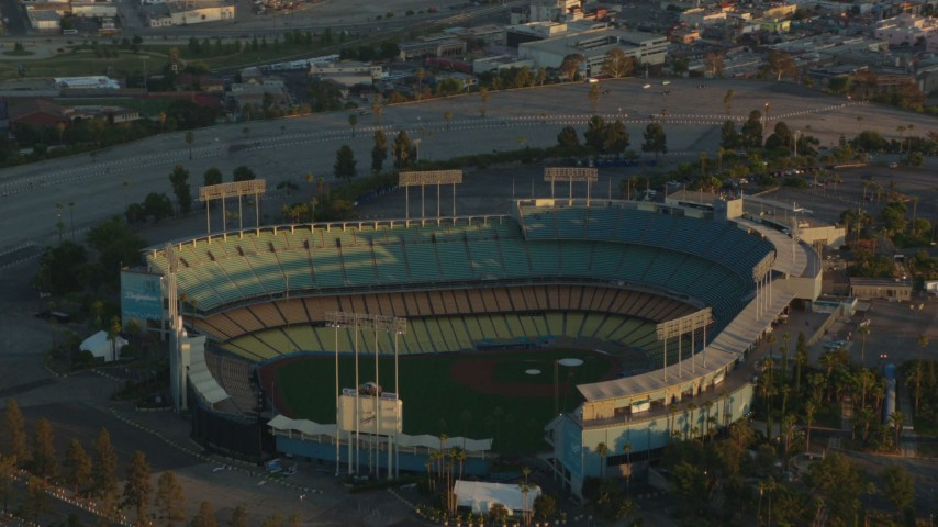1080 stock footage aerial video tilt from Dodger Stadium to reveal Los Angeles City Hall and Downtown Los Angeles at sunset Aerial Stock Footage | HDA06_18