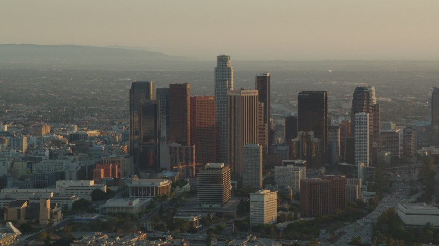 1080 aerial video Downtown Los Angeles skyscrapers at sunset in California Aerial Stock Footage | HDA06_19