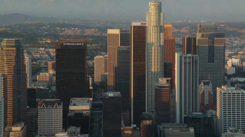 1080 aerial video flyby the tall towers of Downtown Los Angeles, California at sunset Aerial Stock Footage | HDA06_26