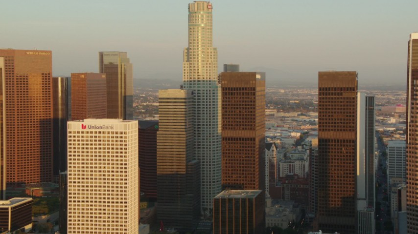 1080 stock footage aerial video US Bank Tower and skyscrapers at sunset in Downtown Los Angeles, California Aerial Stock Footage | HDA06_29