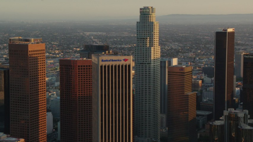 1080 stock footage aerial video Bank of America Center and US Bank Tower at sunset in Downtown Los Angeles, California Aerial Stock Footage | HDA06_30