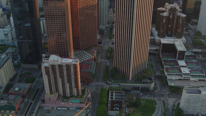 1080 stock footage aerial video tilt and follow S Hope Street at sunset in Downtown Los Angeles, California Aerial Stock Footage | HDA06_31