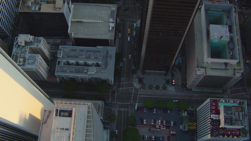 1080 aerial video bird's eye view of S Hope Street through Downtown Los Angeles, California at sunset Aerial Stock Footage | HDA06_34