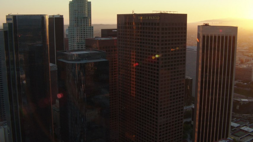1080 stock footage aerial video orbit a group of skyscrapers at sunset in Downtown Los Angeles, California Aerial Stock Footage | HDA06_43