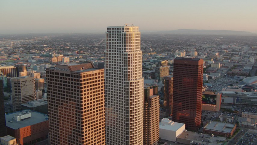1080 stock footage aerial video flyby Figueroa at Wilshire and 777 Tower at sunset in Downtown Los Angeles, California Aerial Stock Footage | HDA06_45