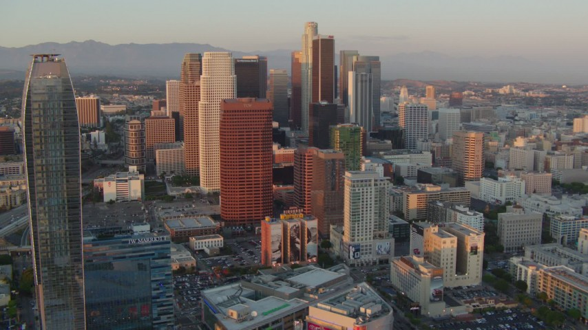 1080 aerial video flyby skyscrapers at sunset in Downtown Los Angeles, California to reveal The Ritz-Carlton Aerial Stock Footage | HDA06_46